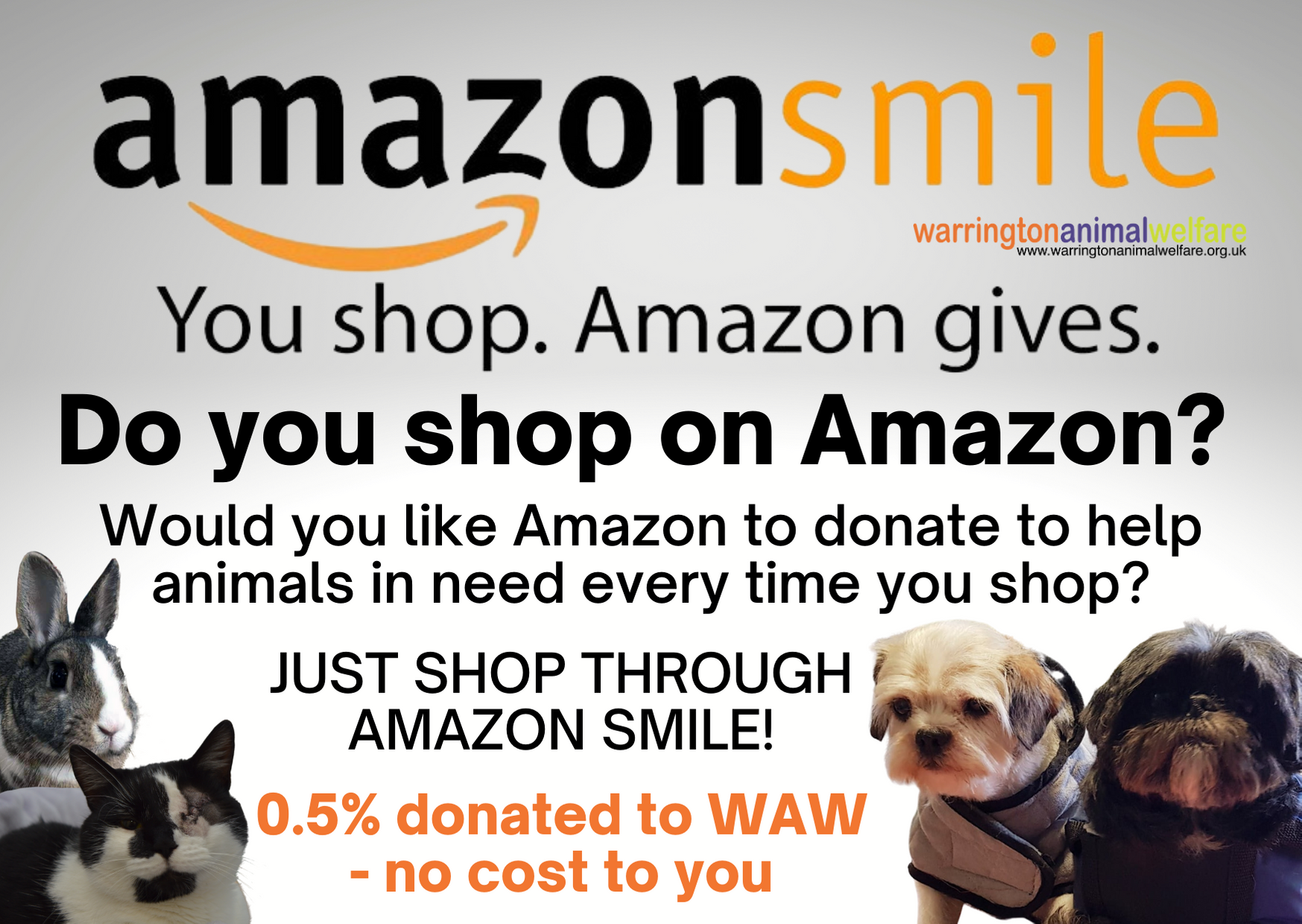 Amazon smile shopping to help Warrington Animal Welfare