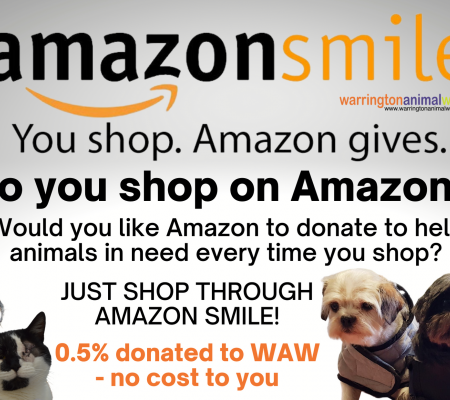 Amazon smile shopping to help Warrington Animal Welfare